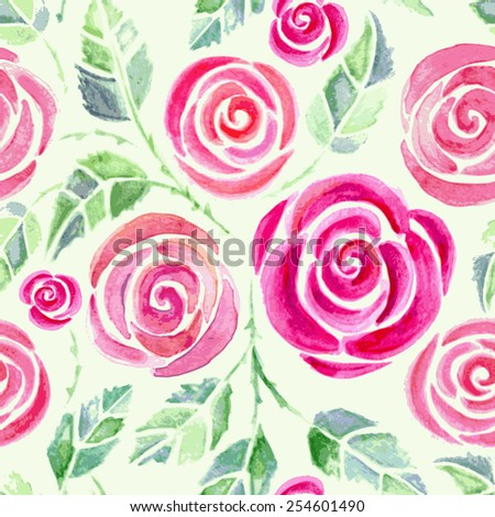 Seamless pattern with watercolor roses. Beautiful floral background. Colorful vector illustration. - stock vector