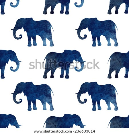 Seamless pattern with watercolor silhouette of a elephant.