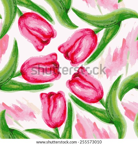 Seamless pattern with watercolor tulips. Beautiful floral background. Colorful vector illustration. - stock vector