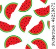 Seamless pattern with watermelon segments. Vector illustration. - stock