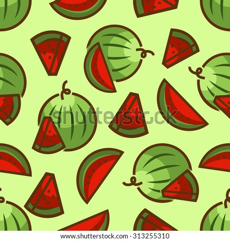 Seamless pattern with watermelons for print, card, posters, decoration, cover, textiles. Vector illustration. - stock vector