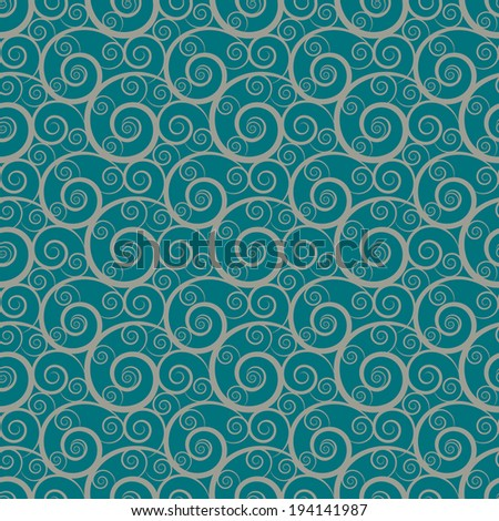 Seamless pattern with waves. Abstract floral background. Endless print silhouette texture. Line art - vector