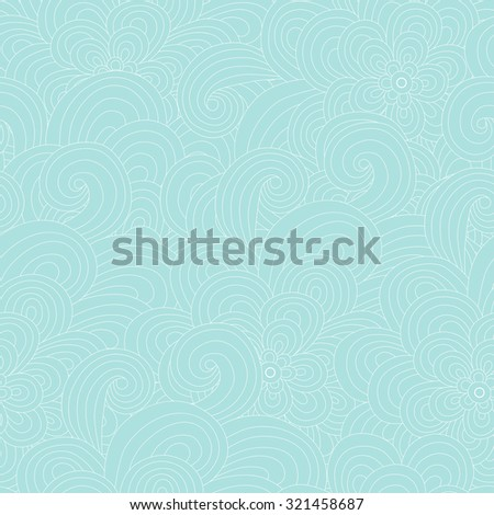 seamless pattern with waves and flowers. hand drown. vector illustration