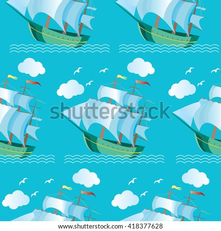 Seamless pattern with waves and ships, sailing boats. Vector Illustration - stock vector