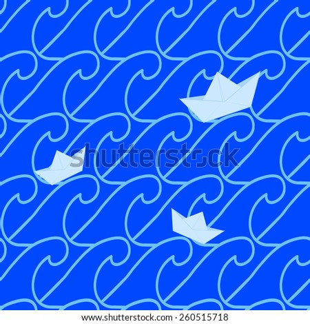 Seamless pattern with waves. White, blue vector illustration. - stock vector