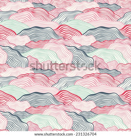 Seamless pattern with wavy scale texture. Vector illustration - stock vector