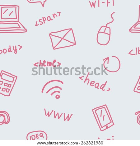 Seamless pattern with web symbols  - stock vector