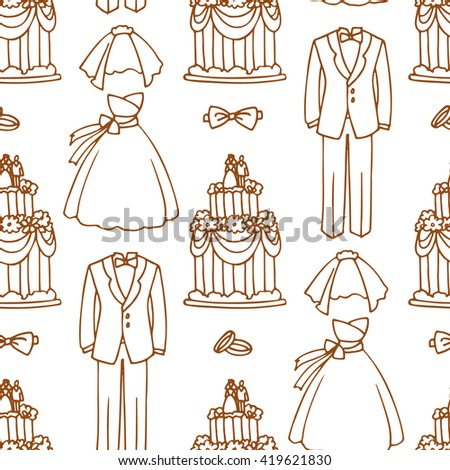 Seamless pattern with wedding dresses, cakes and rings. - stock vector
