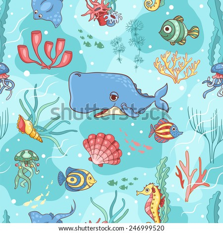 Seamless pattern with whale. Vector cartoon background. - stock vector