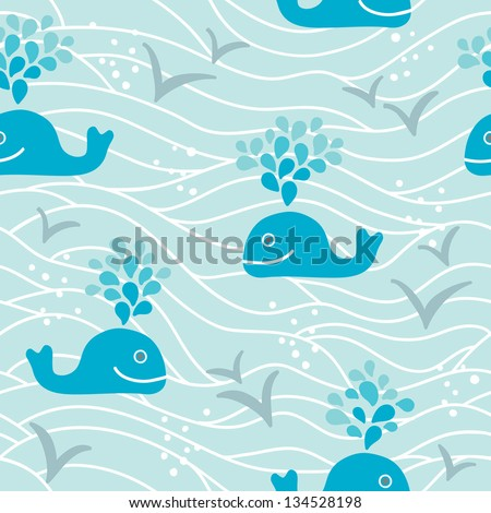Seamless pattern with whales - stock vector