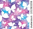seamless pattern with white butterflies and stars - stock vector