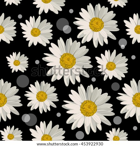 Seamless pattern with white daisies and circles on black background. Vector illustration.