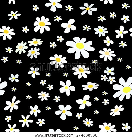 seamless pattern with white daisy on black background, vector illustration - stock vector