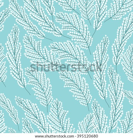 Seamless pattern with white flowers on the blue background - stock vector