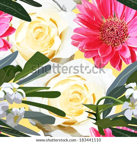 Seamless pattern with white flowers, roses and gerberas - stock vector