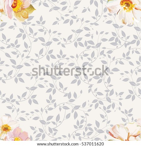 Seamless pattern with white flowers Vector Illustration EPS8
