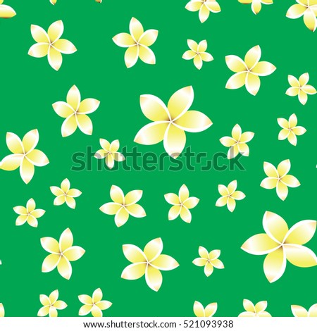 Seamless pattern with White frangipani flowers, vector illustration,