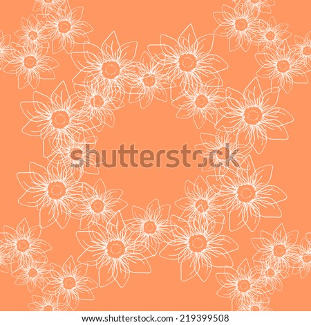 Seamless pattern with white lined flowers in wreath on beige background. Clipping mask is used, vector illustration.