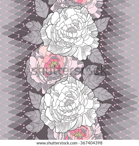Seamless pattern with white peony, ornate leaves and decorative pink lace on the gray background. Floral background in contour style. - stock vector