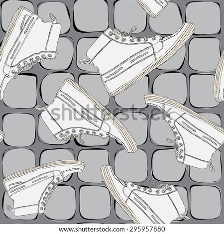 Seamless pattern with white shoes, sports shoes on a gray background with the texture of floor tiles. - stock vector