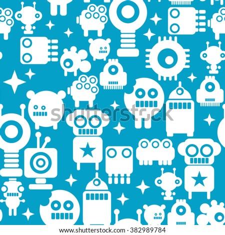 Seamless pattern with white silhouettes of robots on blue background. Friendly monster illustration. - stock vector