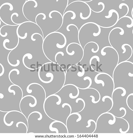Seamless pattern with white swirls on a gray background - stock vector