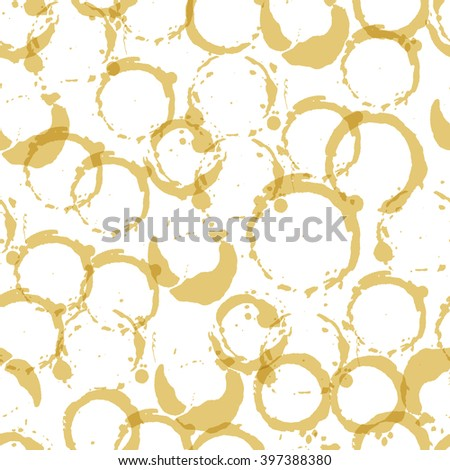 Seamless pattern with white wine stains. Handdrawn background with white wine stains,  glass marks, blots and splashes on white background. Vector illustration.