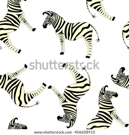Seamless pattern with wild animals zebra, silhouette on white background. Vector.  - stock vector