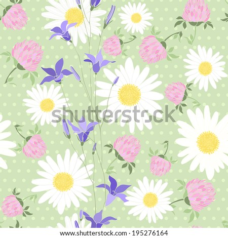 Seamless pattern with wild flowers on the background of with polka dots - stock vector
