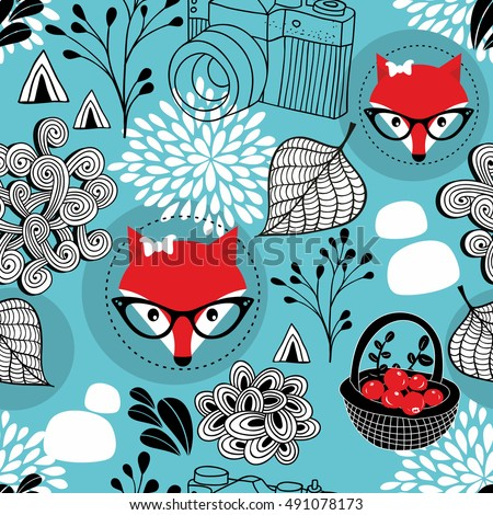Seamless pattern with wild fox in eyeglasses. Vector illustration of winter forest on blue background.