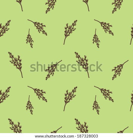 Seamless pattern with willow branches. Nature background concept. Sketch vector element for nature spring design.