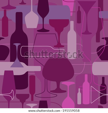 Seamless pattern with wine bottle and glasses