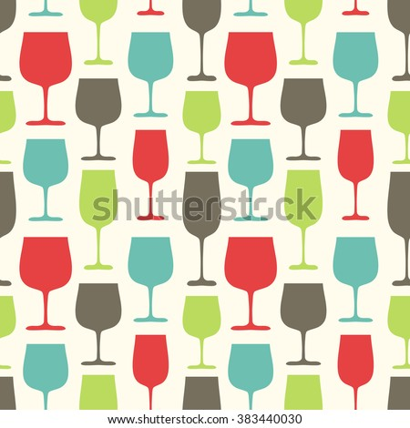 Seamless Pattern with Wine Glasses, hand drawn vector illustration, can be used for wallpaper, web page background, greeting cards, poster, fabric print - stock vector