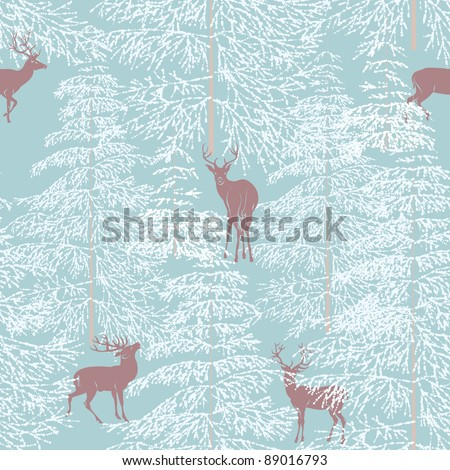 Seamless pattern with winter forest and deers - stock vector