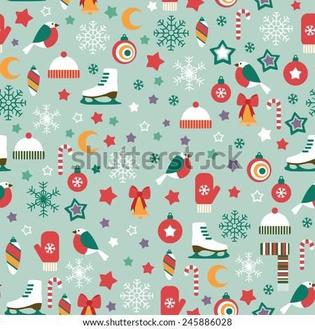 seamless pattern with winter icons on blue background - stock vector