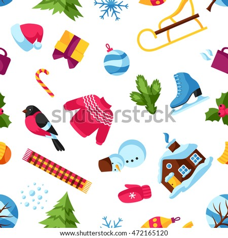 Seamless pattern with winter objects. Merry Christmas, Happy New Year holiday items and symbols.