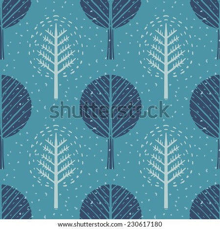 Seamless pattern with winter trees and snow. Abstract hand drawn texture. Repeating print background. Nature. Cloth design. Wallpaper  - stock vector