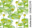 seamless pattern with yellow cow-lilies and leaves on the water - stock vector