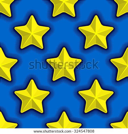 seamless pattern with yellow stars on blue background - stock vector