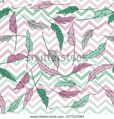 Seamless pattern with zigzag and feathers. Green, pink, grey colors - stock vector