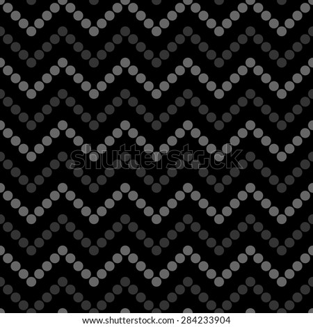 Seamless pattern with zigzag gray circles on a black background. Vector illustration. Editable can be used for web page backgrounds, pattern fills