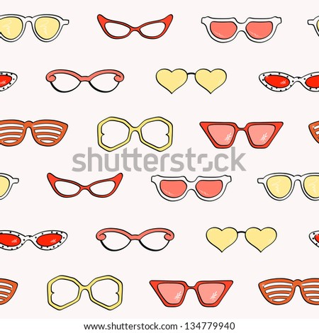 Seamless pattern, Women fashion isolated sunglasses vector set, Template frame design for card, fashion theme. Useful for packaging, invitations, decoration,  etc