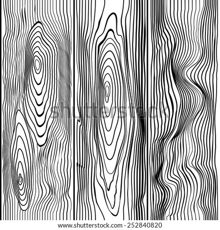 seamless pattern wood in black and white colors - stock vector
