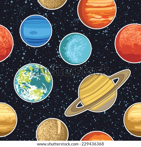 Seamless pattern wth solar system planets - stock vector