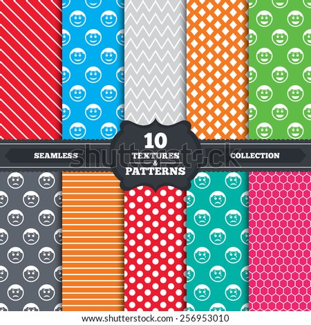 Seamless patterns and textures. Circle smile face icons. Happy, sad, cry signs. Happy smiley chat symbol. Sadness depression and crying signs. Endless backgrounds with circles, lines. Vector - stock vector