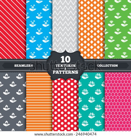 Seamless patterns and textures. Helping hands icons. Financial money savings, family life insurance symbols. Diamond brilliant sign. Fire protection. Endless backgrounds with circles, lines. Vector - stock vector