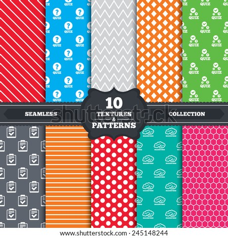 Seamless patterns and textures. Quiz icons. Human brain think. Checklist with check mark symbol. Survey poll or questionnaire feedback form sign. Endless backgrounds with circles, lines. Vector - stock vector