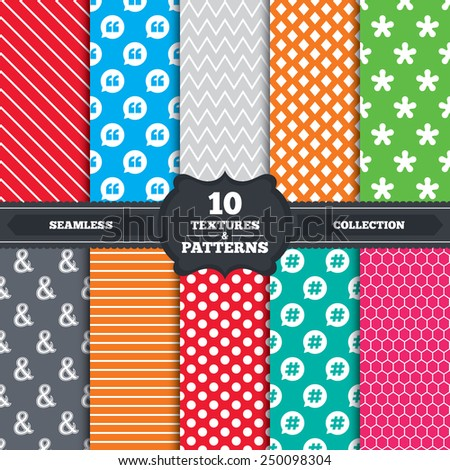 Seamless patterns and textures. Quote, asterisk footnote icons. Hashtag social media and ampersand symbols. Programming logical operator AND sign. Speech bubble. Endless backgrounds with circles. - stock vector
