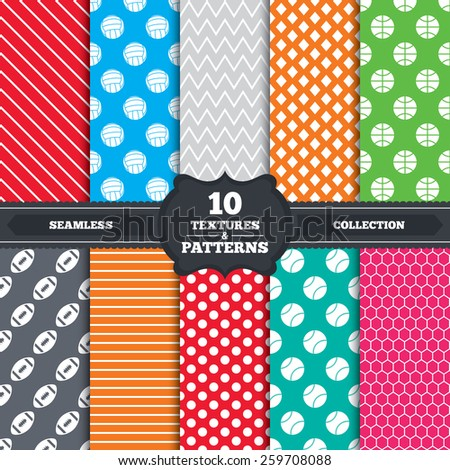 Seamless patterns and textures. Sport balls icons. Volleyball, Basketball, Baseball and American football signs. Team sport games. Endless backgrounds with circles, lines and geometric elements. - stock vector