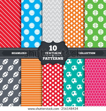Seamless patterns and textures. Sport balls icons. Volleyball, Basketball, Soccer and American football signs. Team sport games. Endless backgrounds with circles, lines and geometric elements. Vector - stock vector